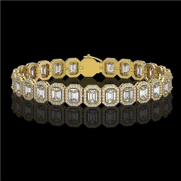 17.28 ctw Emerald Cut Diamond Micro Pave Bracelet 18K Yellow Gold - REF-2686F8M