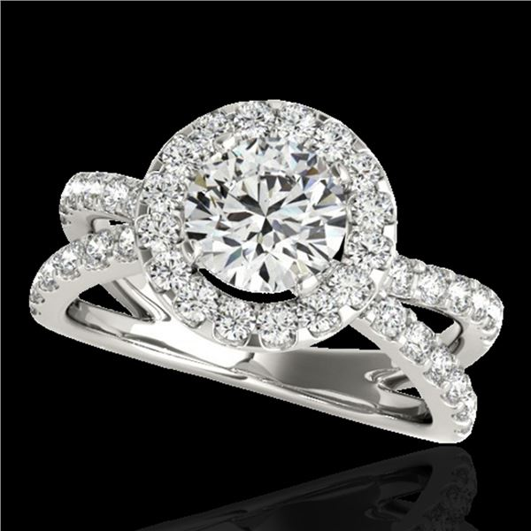 2.01 ctw Certified Diamond Solitaire Halo Ring 10k White Gold - REF-231N8F