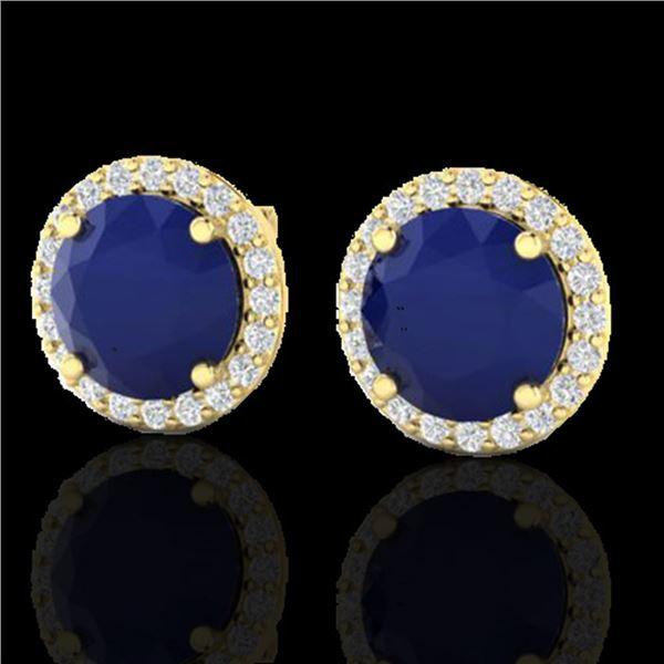 4 ctw Sapphire & Halo VS/SI Diamond Micro Pave Earrings 18k Yellow Gold - REF-78G2W