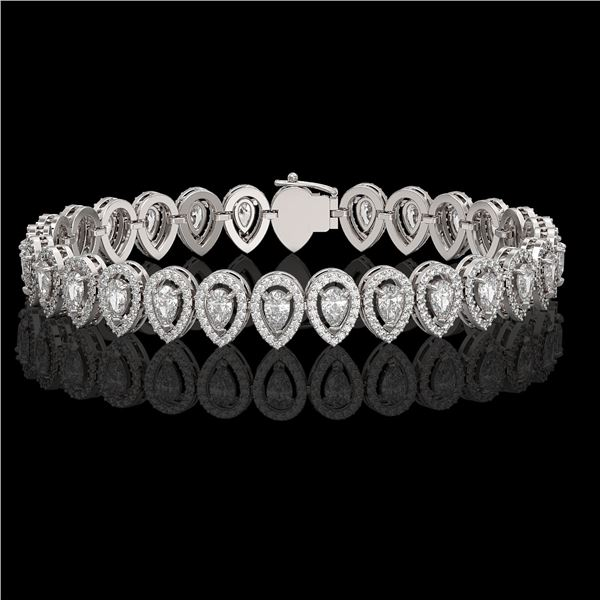 10.36 ctw Pear Cut Diamond Micro Pave Bracelet 18K White Gold - REF-898H6R
