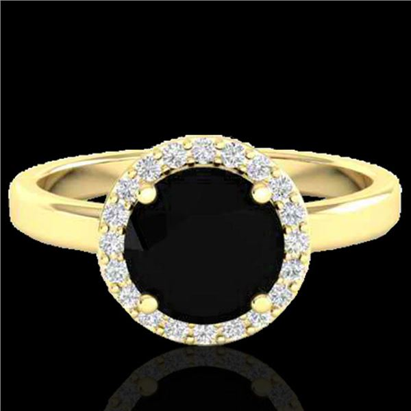 2 ctw Halo VS/SI Diamond Certified Micro Pave Ring 18k Yellow Gold - REF-78Y8X