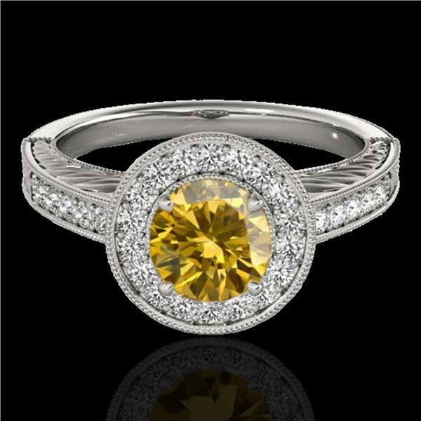 1.5 ctw Certified SI/I Fancy Intense Yellow Diamond Ring 10k White Gold - REF-231M8G