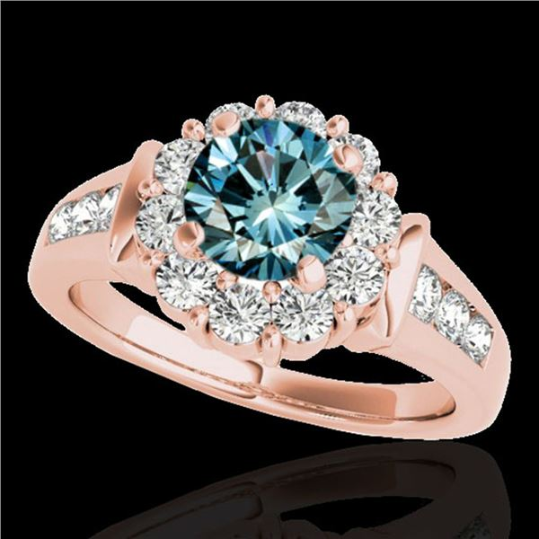 1.9 ctw SI Certified Fancy Blue Diamond Solitaire Halo Ring 10k Rose Gold - REF-154X8A