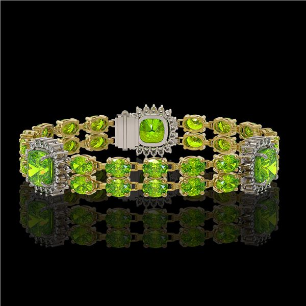 18.93 ctw Peridot & Diamond Bracelet 14K Yellow Gold - REF-259X3A