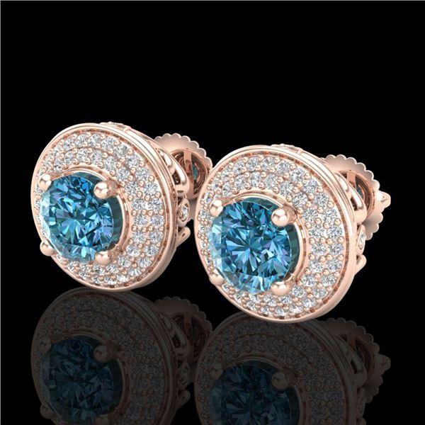 2.35 ctw Fancy Intense Blue Diamond Art Deco Earrings 18k Rose Gold - REF-263H6R