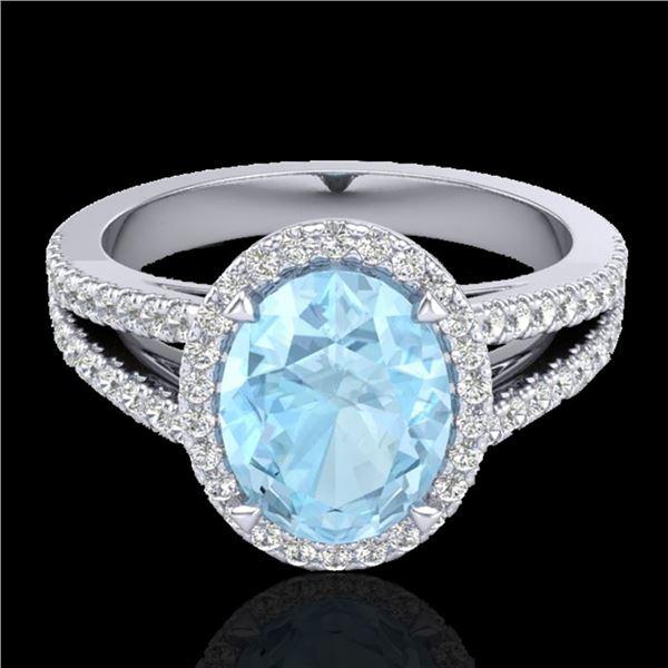 3 ctw Aquamarine & Micro VS/SI Diamond Halo Ring 18k White Gold - REF-83M6G