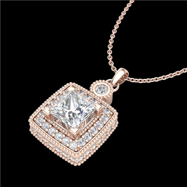 0.91 ctw Princess VS/SI Diamond Art Deco Stud Necklace 18k Rose Gold - REF-145F5M