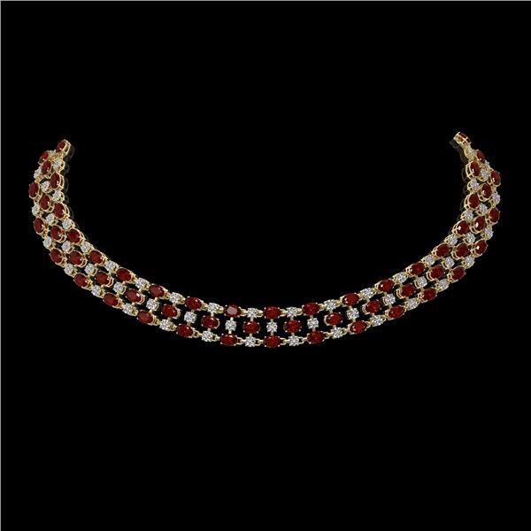 31.85 ctw Garnet & Diamond Necklace 10K Yellow Gold - REF-427W3H