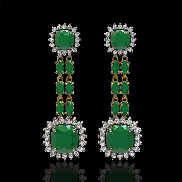 19.88 ctw Emerald & Diamond Earrings 14K Yellow Gold - REF-336R4K