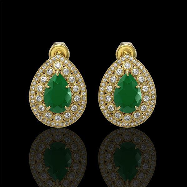 9.74 ctw Certified Emerald & Diamond Victorian Earrings 14K Yellow Gold - REF-309X3A