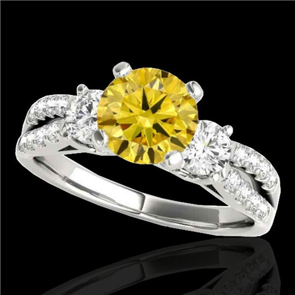 1.5 ctw SI/I Fancy Intense Yellow Diamond 3 Stone Ring 10k White Gold - REF-204F5M