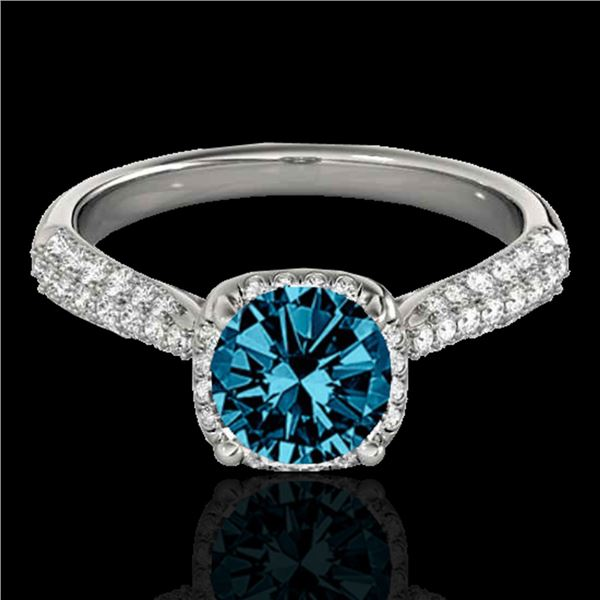 1.50 ctw SI Certified Fancy Blue Diamond Solitaire Halo Ring 10k White Gold - REF-133N2F