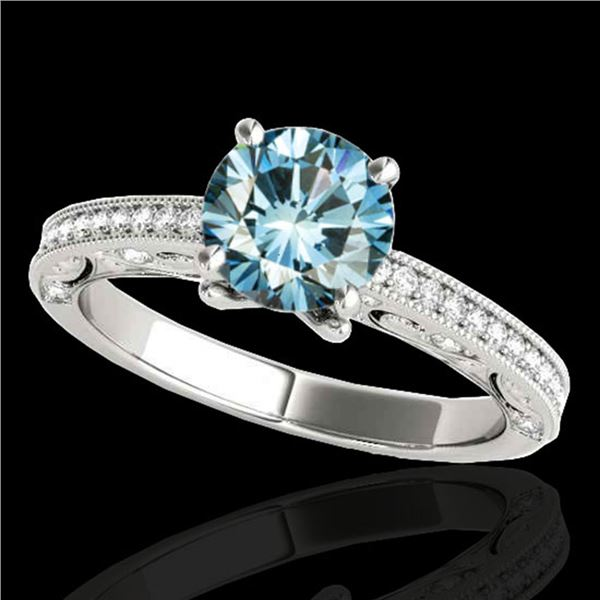 1.25 ctw SI Certified Blue Diamond Solitaire Antique Ring 10k White Gold - REF-122H8R