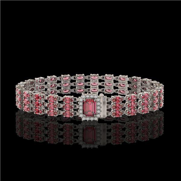 25.49 ctw Tourmaline & Diamond Bracelet 14K White Gold - REF-354W5H