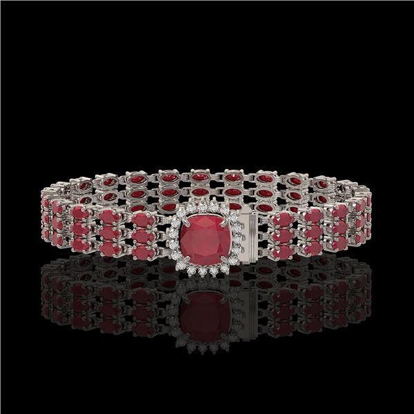 31.91 ctw Ruby & Diamond Bracelet 14K White Gold - REF-307F8M