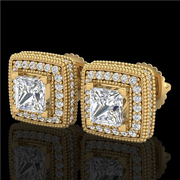 2.01 ctw Princess VS/SI Diamond Art Deco Stud Earrings 18k Yellow Gold - REF-285R5K