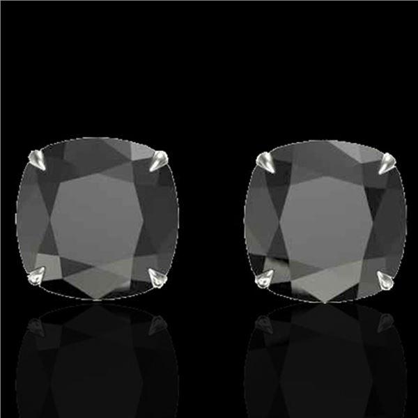 12 ctw Cushion Black Diamond Designer Earrings 18k White Gold - REF-290Y9X