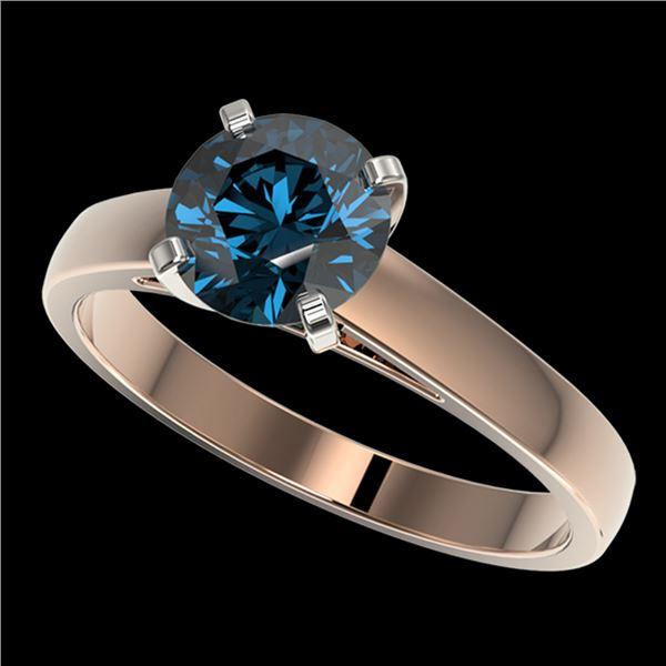 1.50 ctw Certified Intense Blue Diamond Engagment Ring 10k Rose Gold - REF-171R8K