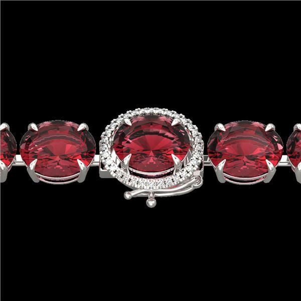 65 ctw Pink Tourmaline & Micro Diamond Bracelet 14k White Gold - REF-981W8H