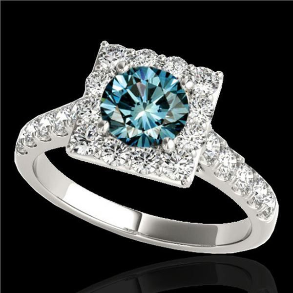 2.5 ctw SI Certified Fancy Blue Diamond Solitaire Halo Ring 10k White Gold - REF-218M2G