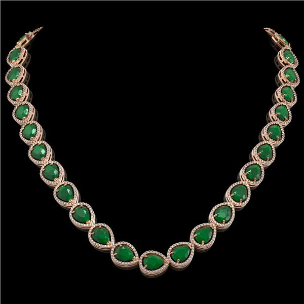 64.01 ctw Emerald & Diamond Micro Pave Halo Necklace 10k Rose Gold - REF-854N5F