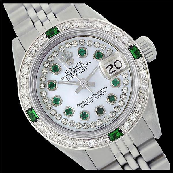 Rolex Ladies Stainless Steel, Diam/Emerald Dial & Diam/Emerald Bezel, Sapphire Crystal