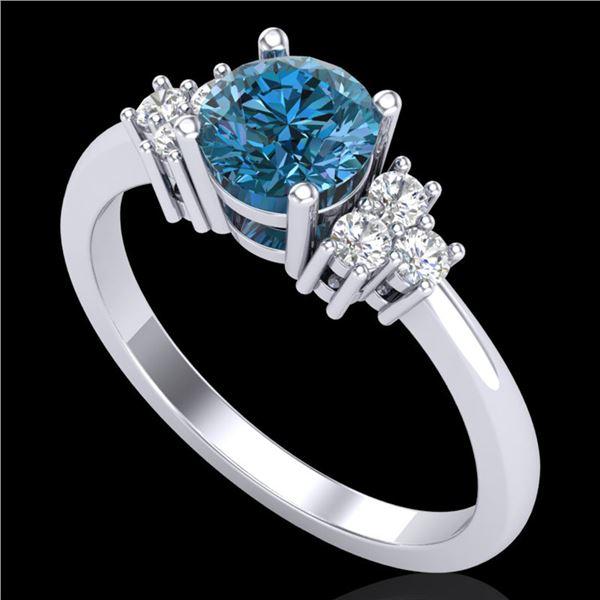 1 ctw Fancy Intense Blue Diamond Engagment Ring 18k White Gold - REF-145X5A