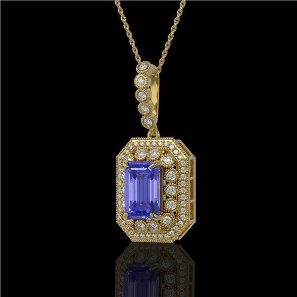 6.05 ctw Tanzanite & Diamond Victorian Necklace 14K Yellow Gold - REF-309R3K