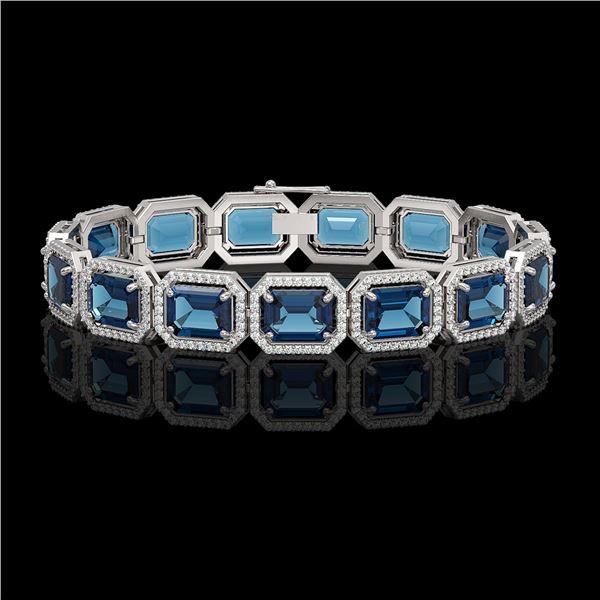 35.61 ctw London Topaz & Diamond Micro Pave Halo Bracelet 10k White Gold - REF-337M3G