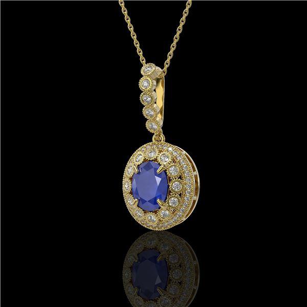4.67 ctw Sapphire & Diamond Victorian Necklace 14K Yellow Gold - REF-123H6R
