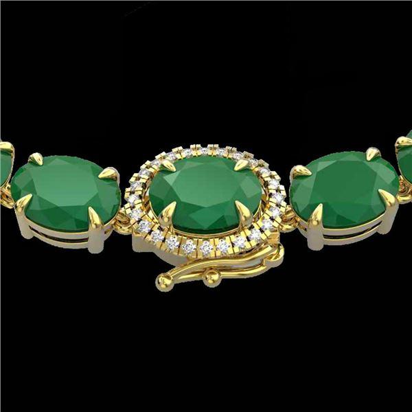 54.25 ctw Emerald & VS/SI Diamond Micro Pave Necklace 14k Yellow Gold - REF-418Y2X