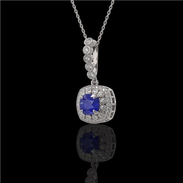 2.55 ctw Sapphire & Diamond Victorian Necklace 14K White Gold - REF-100G2W