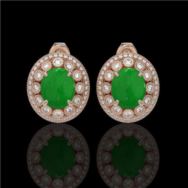 10.61 ctw Jade & Diamond Victorian Earrings 14K Rose Gold - REF-269K3Y