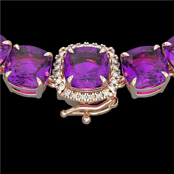 116 ctw Amethyst & Diamond Micro Pave Necklace 14k Rose Gold - REF-350X2A