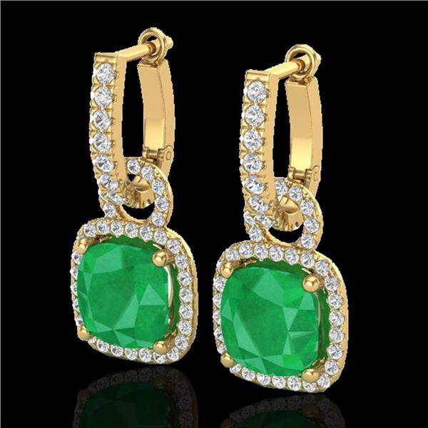 6 ctw Emerald & Micro Pave VS/SI Diamond Earrings 18k Yellow Gold - REF-125F5M