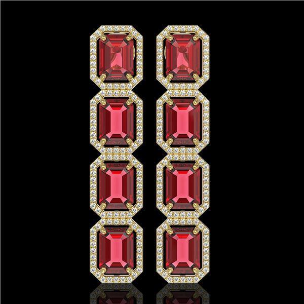 19.44 ctw Tourmaline & Diamond Micro Pave Halo Earrings 10k Yellow Gold - REF-636A4N