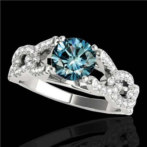 1.5 ctw SI Certified Fancy Blue Diamond Solitaire Ring 10k White Gold - REF-135M2G