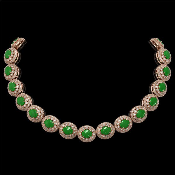 101.75 ctw Jade & Diamond Victorian Necklace 14K Rose Gold - REF-2594X5A