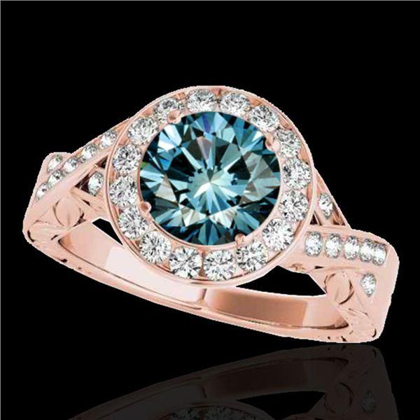 1.75 ctw SI Certified Fancy Blue Diamond Halo Ring 10k Rose Gold - REF-218G2W