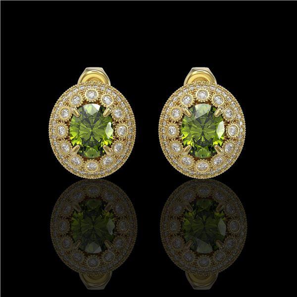 8.04 ctw Tourmaline & Diamond Victorian Earrings 14K Yellow Gold - REF-223W6H