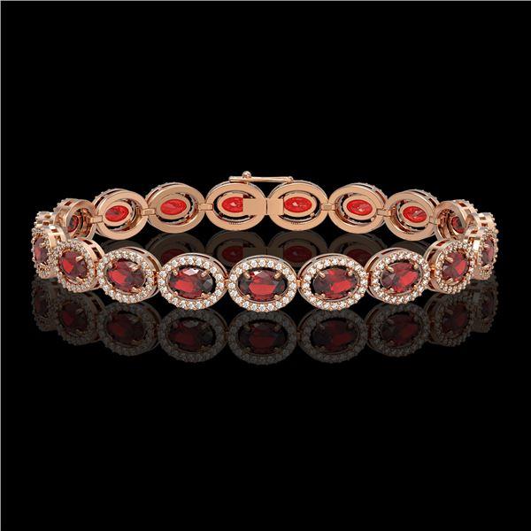 14.63 ctw Garnet & Diamond Micro Pave Halo Bracelet 10k Rose Gold - REF-263R6K