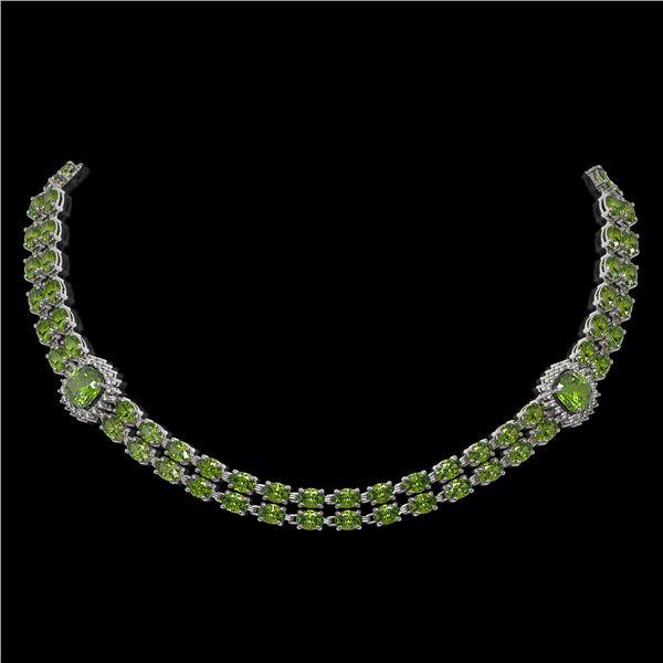 38.37 ctw Tourmaline & Diamond Necklace 14K White Gold - REF-527H3R