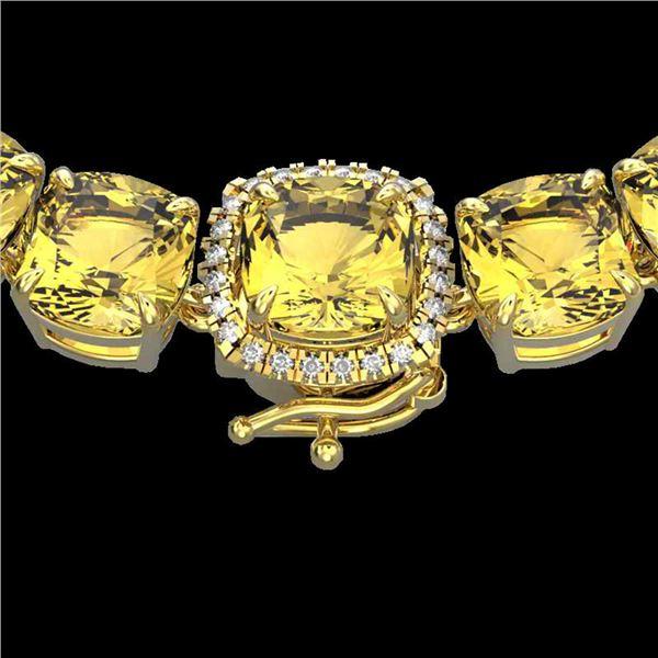 87 ctw Citrine & Diamond Micro Pave Necklace 14k Yellow Gold - REF-335M6G