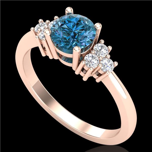 1 ctw Fancy Intense Blue Diamond Engagment Ring 18k Rose Gold - REF-145K5Y