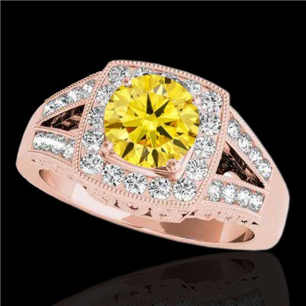 1.65 ctw Certified SI/I Fancy Intense Yellow Diamond Ring 10k Rose Gold - REF-270F2M