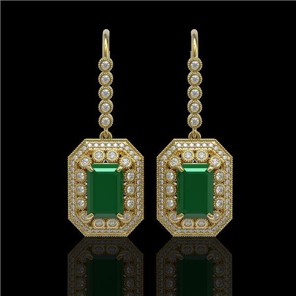 14.16 ctw Certified Emerald & Diamond Victorian Earrings 14K Yellow Gold - REF-345G5W