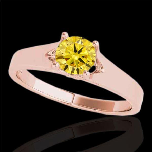 1.5 ctw Certified SI/I Fancy Intense Yellow Diamond Ring 10k Rose Gold - REF-259X3A