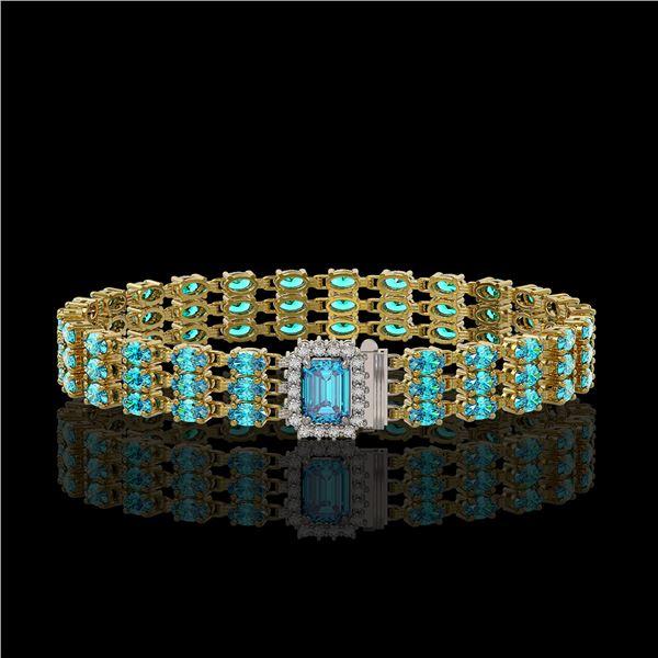 26.02 ctw Swiss Topaz & Diamond Bracelet 14K Yellow Gold - REF-318X2A