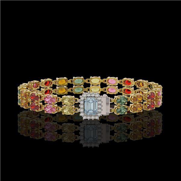 19.34 ctw Sapphire & Diamond Bracelet 14K Yellow Gold - REF-236K4Y