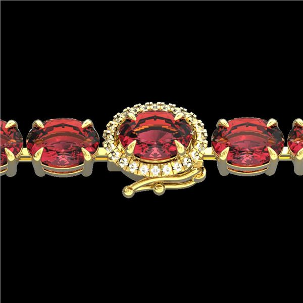 17.25 ctw Pink Tourmaline & Diamond Micro Bracelet 14k Yellow Gold - REF-218X2A